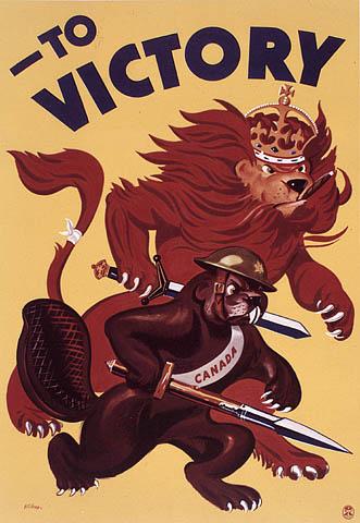 Affiche en couleur montrant un lion et un castor tenant une épée et avançant de façon menaçante.