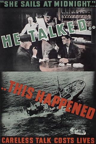 Affiche en couleur montrant deux photos avec du texte superposé. La photo du haut montre des gens assis dans un café qui discutent, et un homme qui écoute leur conversation. La photo du bas montre un navire qui coule.