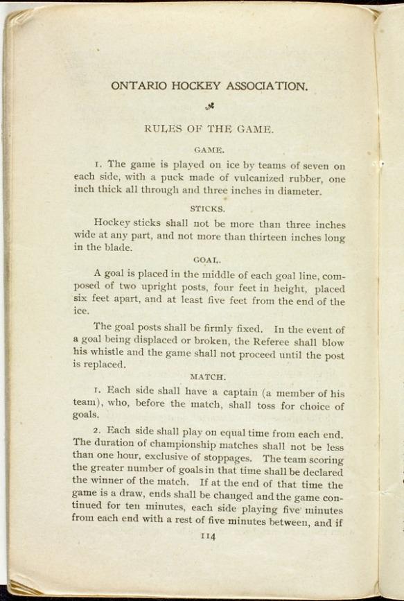 Page dactylographiée faisant état des règlements au hockey