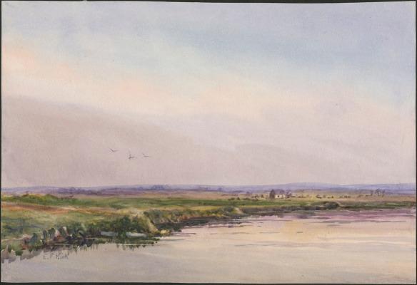Reproduction en couleur d'une aquarelle illustrant un paysage dominé par un ciel légèrement enfumé. Une bande de terre verte sépare le ciel de la rivière.