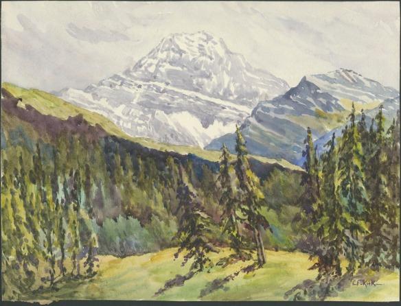 Représentation en couleur d'une aquarelle montrant des montagnes enneigées et des prés couverts de forêts vertes.