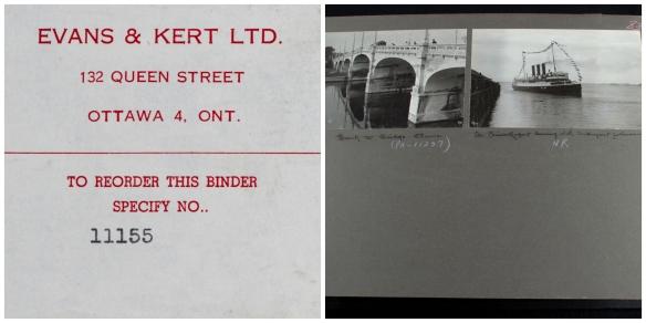 Collage de deux images. La première est une étiquette expliquant la marche à suivre pour commander la reliure, si nécessaire, et la seconde montre deux photographies en noir et blanc : une du pont d'Ottawa et l'autre portant la légende : « Str. Prince Rupert leaving for Vancouver » (le navire à vapeur Prince Rupert quitte Vancouver).