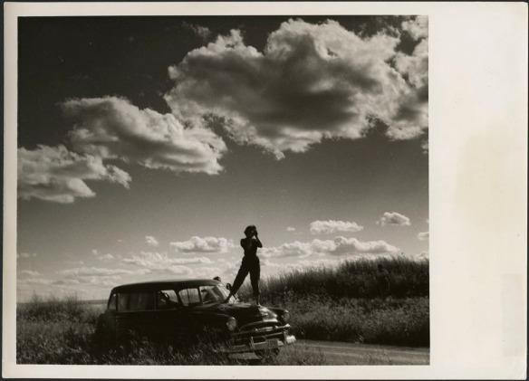 Photo noir et blanc montrant la silhouette d'une femme qui photographie la prairie, debout sur le capot d'une voiture familiale stationnée le long de la route.
