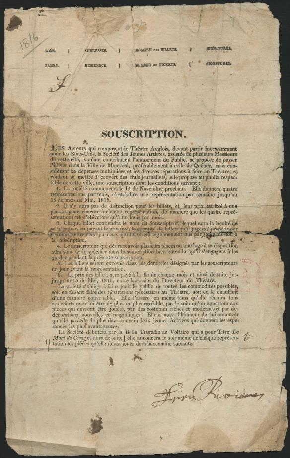 Un imprimé en français explique les conditions de la souscription et l'engagement de la troupe envers son public.
