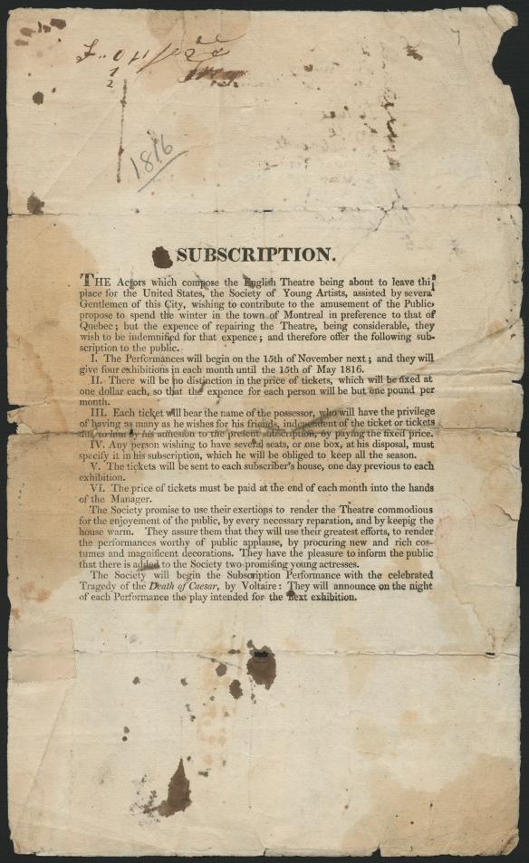 Un imprimé en anglais explique les conditions de la souscription et l'engagement de la troupe envers son public.