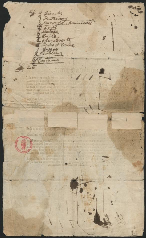Liste d'objets écrite à l'encre et très difficile à déchiffrer.