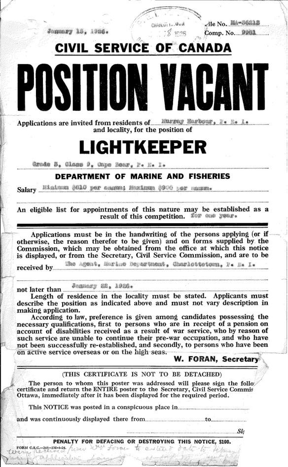 Document textuel en noir et blanc. En gros caractères noirs : Civil Service of Canada Position Vacant Lightkeeper (poste vacant de gardien de phare au sein de la fonction publique du Canada).