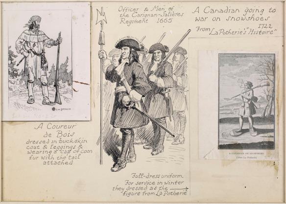 Un collage montrant trois images sur carton. (1) un coureur de bois debout avec fusil et habit typique (2) trois soldats avec des chapeaux tricornes, des épées et des fusils, et (3) un habitant partant en guerre en hiver, portant des raquettes, un fusil et fumant une pipe.