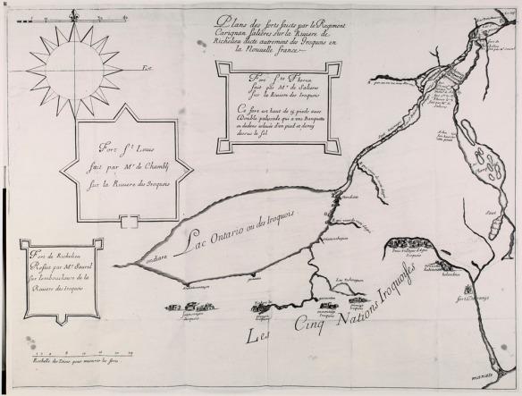 Une reproduction d'une carte montrant les forts et village à l'est du lac Ontario et au sud du Saint-Laurent.