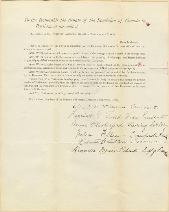 Lettre dactylographiée signée par les dirigeantes canadiennes de l'Union chrétienne des femmes pour la tempérance, expliquant pourquoi les femmes devraient avoir le droit de vote.