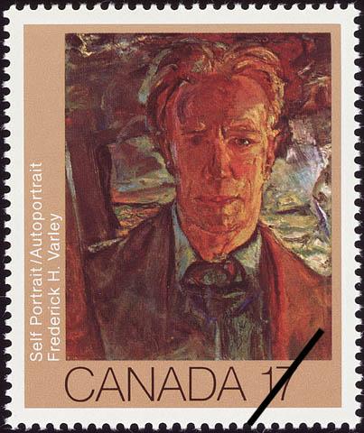 Un timbre-poste en couleurs arborant le portrait d'un homme qui regarde droit devant lui. L'arrière-plan est chaotique et il semble y avoir l'ombre d'une croix au-dessus de son épaule droite.