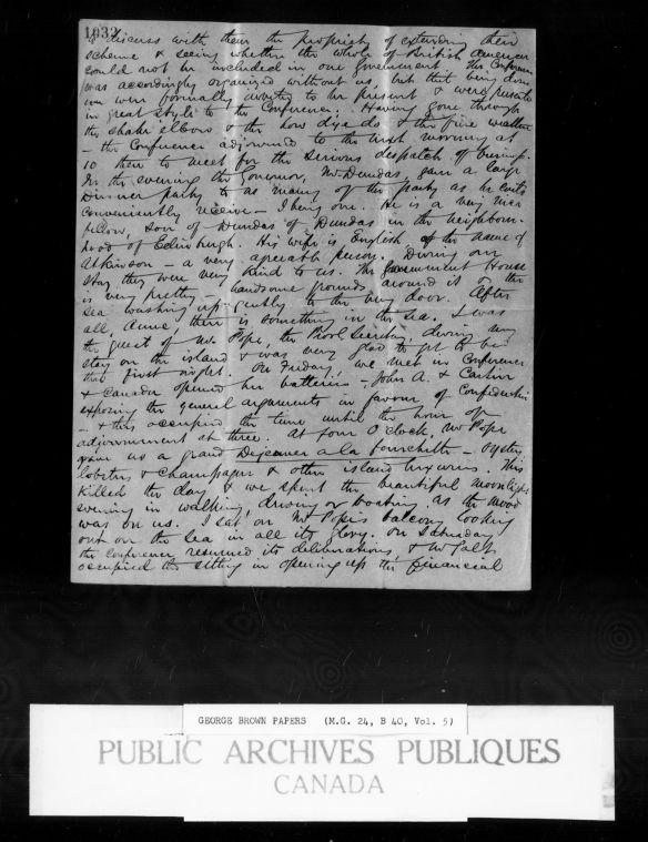 Reproduction d'une lettre personnelle dans laquelle Brown décrit ses journées, y compris le contenu des conférences et les activités sociales.