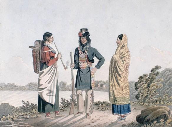 Aquarelle représentant un homme entouré de deux femmes, tous debout devant un cours d'eau. L'homme tient un fusil tandis que la femme à droite a une longue pipe dans les mains et transporte un enfant dans un porte bébé installé sur son dos.