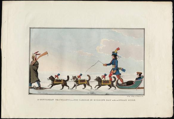 Aquarelle d'un paysage enneigé. Un homme est assis dans un traîneau tiré par trois chiens couverts de manteaux colorés. À gauche, un homme vêtu d'une couverture avance en raquettes devant les chiens. Un homme tenant un fouet et portant des vêtements typiques de la culture métisse (un long manteau bleu, des jambières rouges et un chapeau décoré) marche à la droite du traîneau.