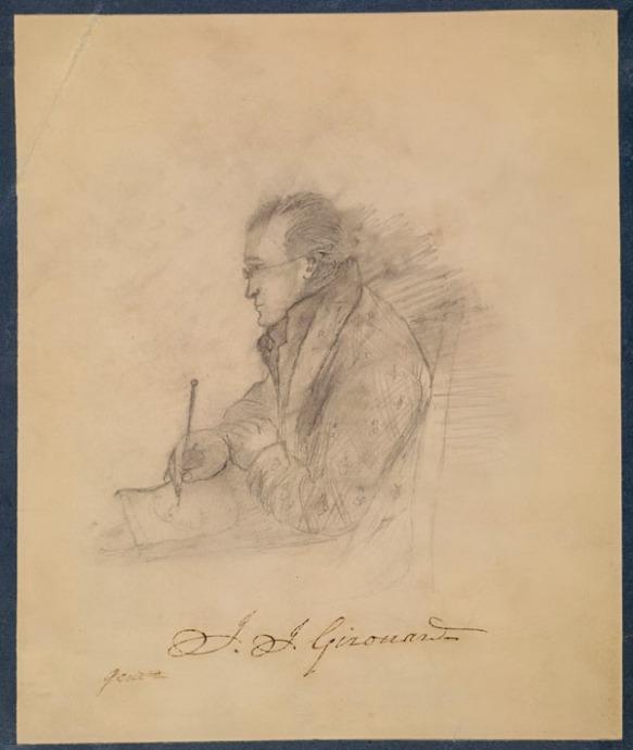 Croquis au crayon de Jean-Joseph Girouard vu de profil, assis sur une chaise et dessinant avec un crayon sur une feuille de papier.