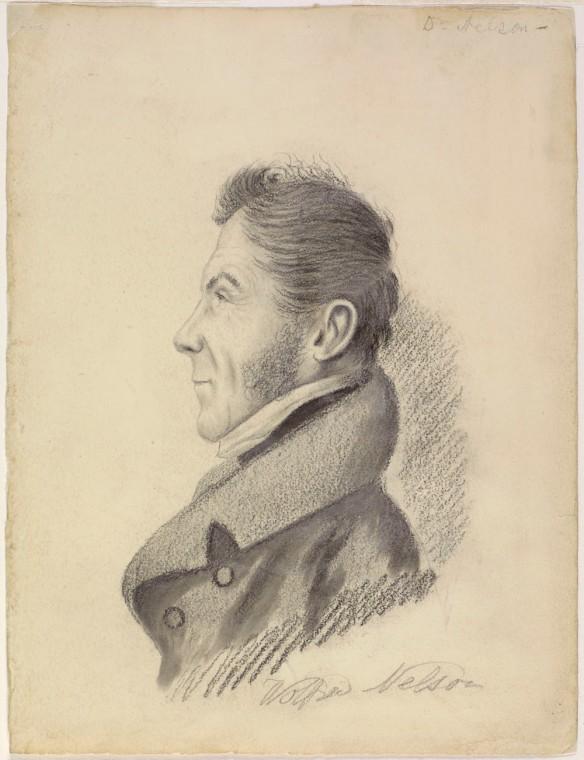 Portrait au crayon représentant le profil gauche de Wolfred Nelson, avec des zones d'ombre derrière les épaules, la tête et le cou.