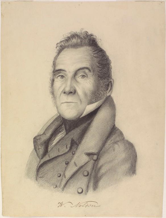 Portrait au crayon de Wolfred Nelson vu de face.