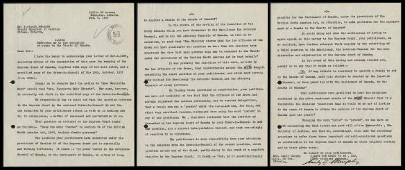 Lettre de trois pages d'Emily F. Murphy sur la pétition dans l'affaire « personne ».