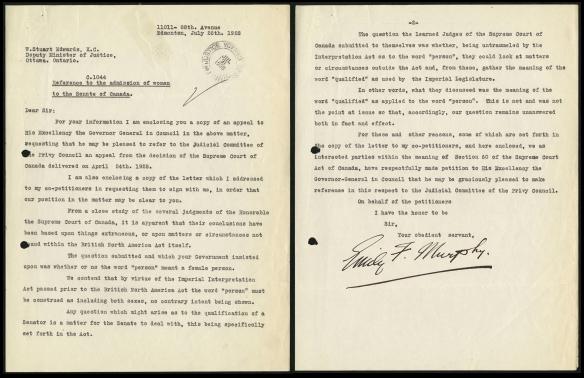 Lettre de deux pages d'Emily F. Murphy sur la pétition dans l'affaire « personne ».