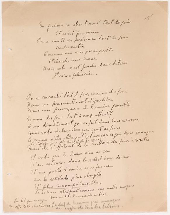 Image en couleur d'un poème écrit à la main.