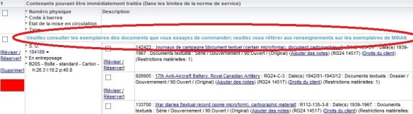 Capture d'écran du système de gestion interne des collections de Bibliothèque et Archives Canada où est mis en évidence le message suivant : « Veuillez consulter les exemplaires des documents que vous essayez de commander; veuillez vous référer aux renseignements sur les exemplaires de MIKAN. »