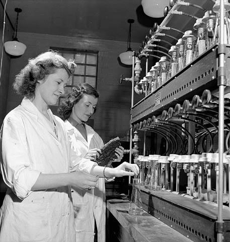 Photographie noir et blanc montrant deux techniciennes de laboratoire vêtues de sarraus blancs. Celle qui apparait en avant-plan remue une solution dans une éprouvette alors que l'autre, en arrière-plan, tient dans ses mains une pièce de caoutchouc synthétique qu'elle observe.