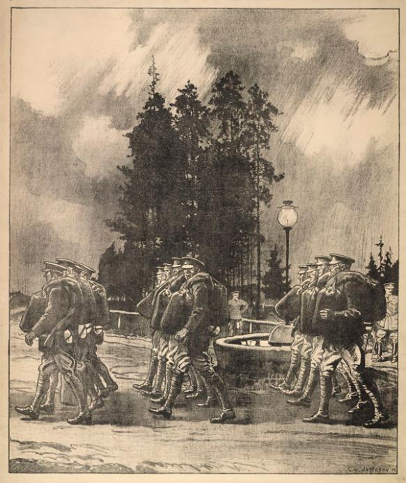 Lithographie représentant des soldats qui marchent en rang, un polochon à l'épaule.