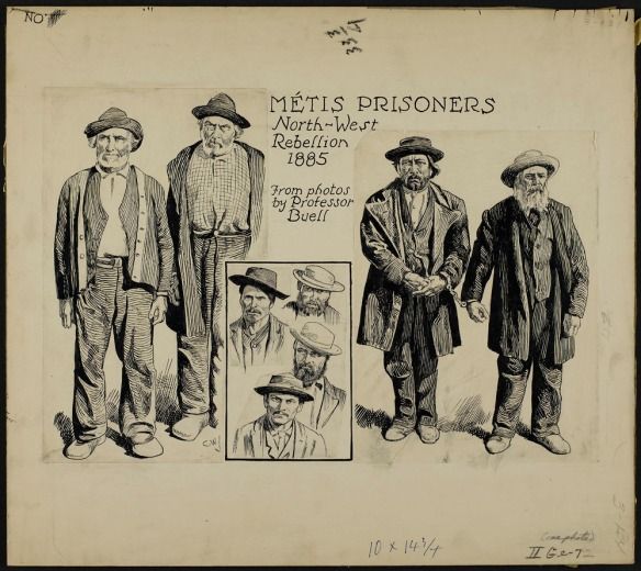 Dessin noir et blanc réalisé à la plume représentant quatre hommes debout. Une vignette comprend les bustes de quatre autres hommes vêtus d'un chapeau.
