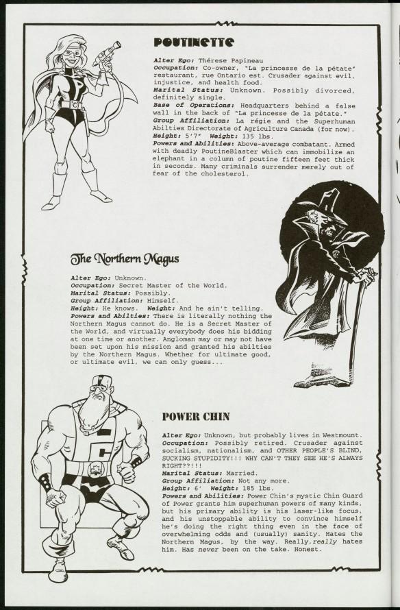 Croquis et descriptions textuelles de trois personnages : Poutinette, The Northern Magus et Power Chin.