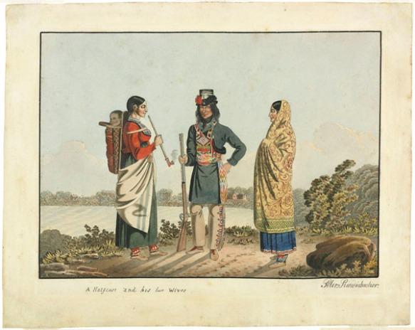Aquarelle montrant trois figures debout près d'une étendue d'eau. De gauche à droite : une femme fumant la pipe portant un bébé sur le dos, un homme portant des jambières, une longue veste bleue et une ceinture fléchée métisse et tenant une carabine dans sa main droite et une autre femme vêtue d'une robe bleue avec un châle enroulé autour de la tête et du corps.