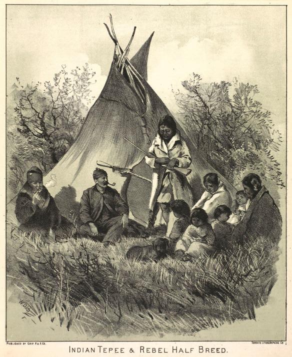 Lithographie montrant un groupe de neuf personnes, probablement une famille, y compris un bébé et trois enfants assis devant un tipi. Une personne est debout et tient une carabine, et deux hommes métis fument la pipe.