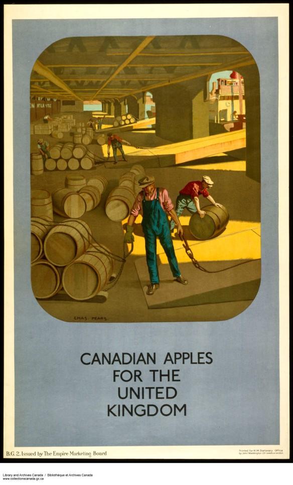 Affiche en couleur montrant des hommes qui chargent des tonneaux de bois dans un bateau. Le texte dit : Des pommes canadiennes pour le Royaume-Uni.