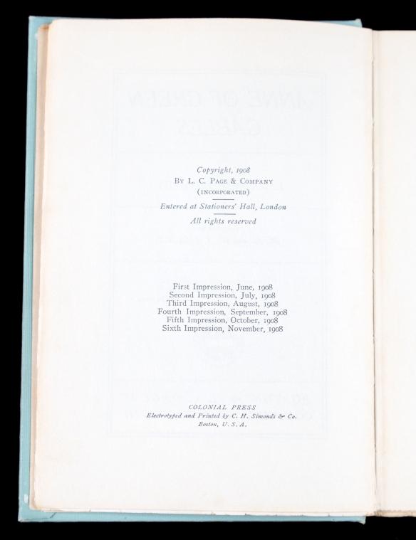 Page des droits d'auteur de l'exemplaire de la collection Cohen de la sixième impression de la première édition du roman Anne of Green Gables