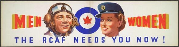 Affiche en couleur illustrant le visage d'un homme et d'une femme membres de l'Aviation royale du Canada. L'homme porte une casquette et des lunettes d'aviateur et la femme porte une casquette bleue avec une visière. Entre l'homme et la femme, il y a un médaillon composé d'un cercle bleu et d'une feuille d'érable rouge au centre.