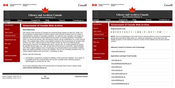 Image en couleur illustrant des captures d'écran de deux pages Web du gouvernement du Canada, présentées côte à côte.