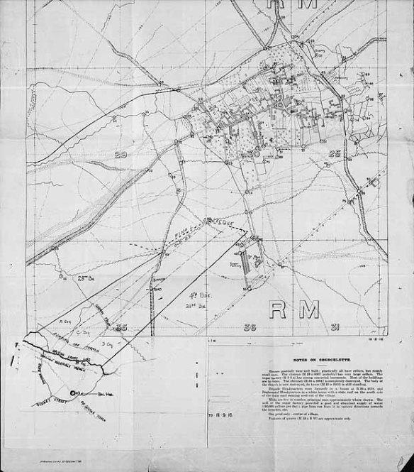 Image d'une carte de tranchée, datée de septembre 1916, montrant l'axe de progression prévu pour le 27e Bataillon, près de Courcelette, en France.