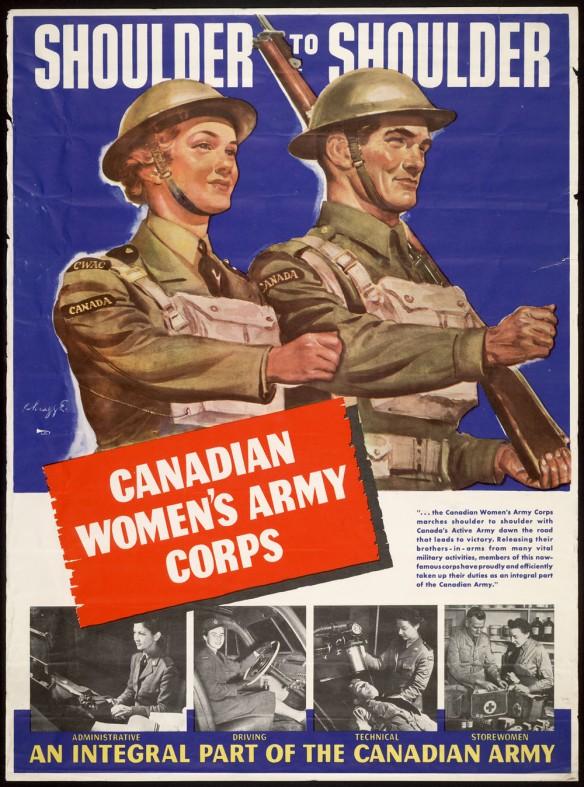 Affiche en couleur illustrant une femme et un homme membres de l'Armée canadienne marchant tous deux à l'unisson. Les personnages portent des casques et des uniformes, ils transportent, accrochés au cou, un sac renfermant un masque à gaz. Sur l'épaule gauche de l'homme est déposé un fusil. Au bas de l'affiche sont apposées quatre petites photographies en noir et blanc de femmes accomplissant différentes tâches dans l'armée.