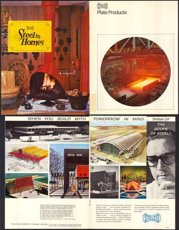Un collage de publicités en couleurs. La première illustration montre différents produits résidentiels, dont un foyer au bois pour le salon, la deuxième montre la fabrication de panneaux d'acier et la troisième montre quelques dessins architecturaux pour la construction de bâtiments.