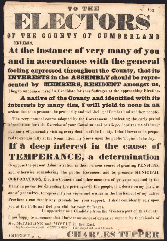 Affiche avec du texte visant à expliquer le programme électoral de sir Charles Tupper en vue des élections dans le comté de Cumberland (Nouvelle-Écosse)