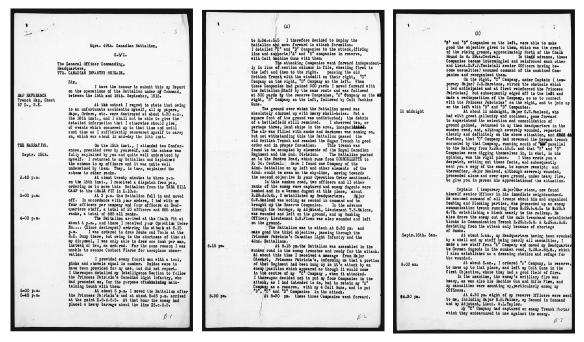Collage de trois pages dactylographiées noir sur blanc avec la date du 15 septembre notée dans la marge et un compte rendu, d'heure en heure, des actions qui se déroulent.
