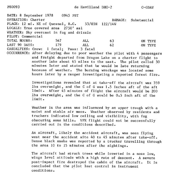 Un document tapé à la machine sur du papier blanc, contenant des informations sur un accident d'avion qui s'est produit le 8 septembre 1978.