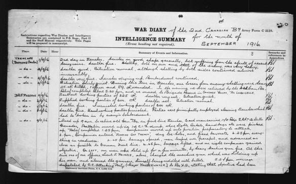 Une page manuscrite en noir et blanc décrivant les actions quotidiennes du bataillon.
