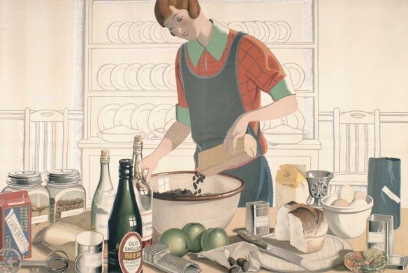 Image d'une femme qui verse des raisins de Corinthe dans un bol; sur une table, on voit des ustensiles de cuisine et les ingrédients d'une recette, dont des raisins de Smyrne, de la farine, de l'eau-de-vie, des clous de girofle, une bière, du rhum jamaïcain, des raisins de Corinthe, des pommes, de la cannelle, du pain, des œufs, des épices et des raisins secs.