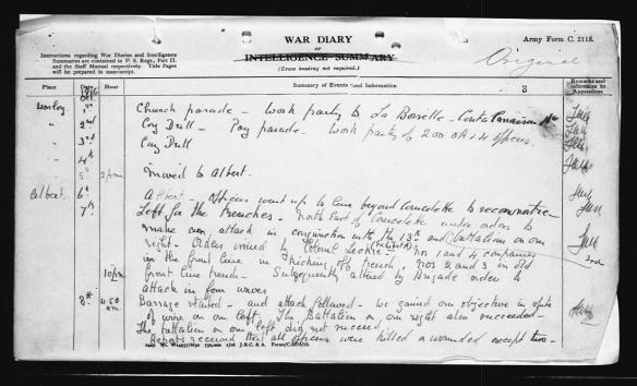 Page manuscrite, noir sur blanc, décrivant les événements quotidiens ayant mené à la journée pendant laquelle le cornemuseur James Cleland Richardson a accompli l'acte qui lui a valu la Croix de Victoria.