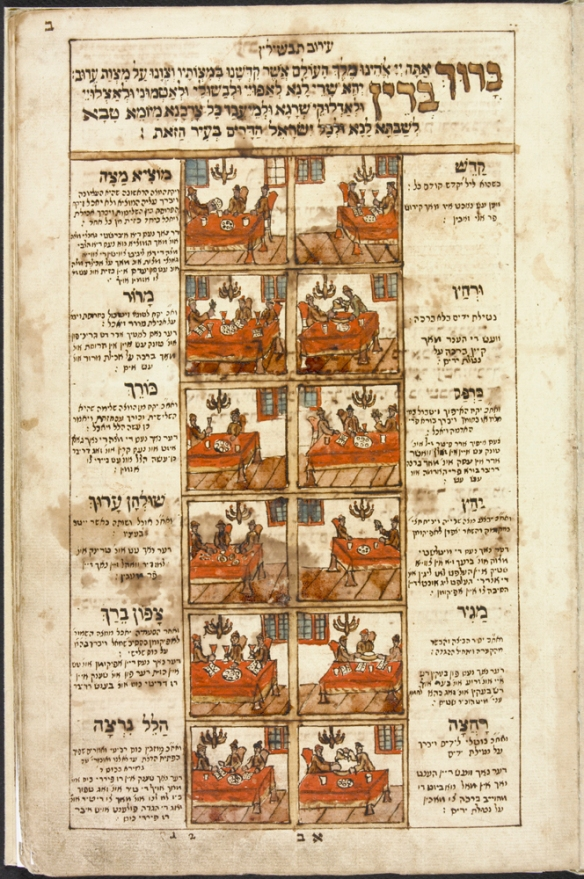 Image colorée en rouge, brun et gris d'une page d'une Haggadha de la Pâque. Les 12 étapes rituelles du séder y sont illustrées. Dans les marges intérieures et extérieures, un texte en hébreu identifie le rituel et donne des instructions en yiddish pour l'accomplir.