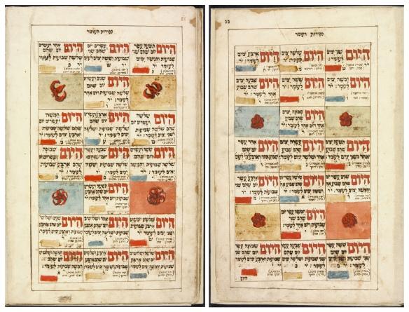 Image en couleur montrant deux pages d'un livre. L'écriture en hébreu (en rouge et noir) comprend des références mystiques. Certaines images carrées sont faites de morceaux de papier colorés contenant un simple motif floral.