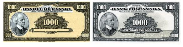 Deux images du billet de mille dollars côte à côte; dans sa version provisoire, à gauche, le billet est gris et jaune, et le billet définitif, à droite, est blanc et gris.