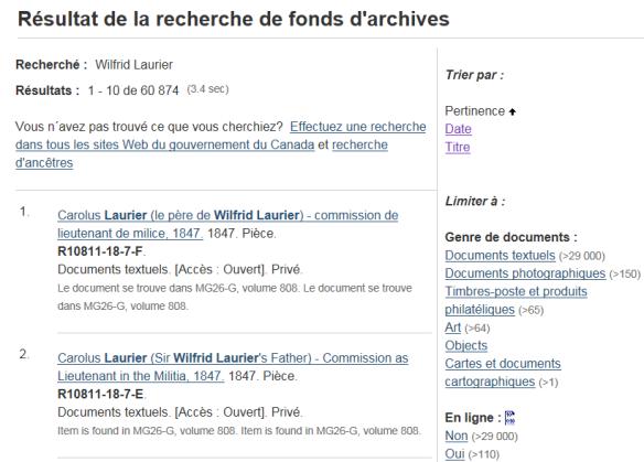 Une capture d'écran d'une page Web montrant les résultats d'une recherche sur « Wilfrid Laurier » à l'aide de la Recherche de fonds d'archives de <abbr title=