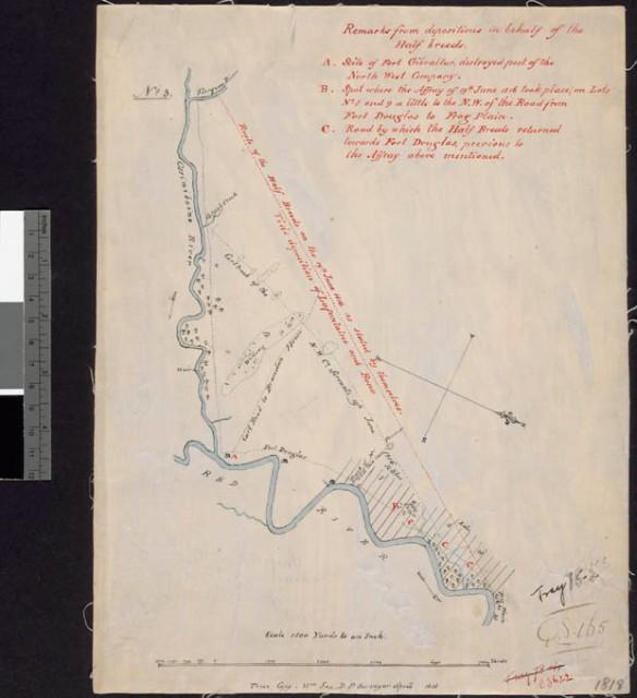 Une carte illustrant les rivières Assiniboine et Rouge, à leur point de confluence, ainsi que des lots de ferme, le tout reproduit sur du papier de couleur crème. Les rivières sont dessinées à l'encre bleue, les renseignements généraux sont notés à l'encre noire et la légende et une remarque sont rédigées à l'encre rouge.