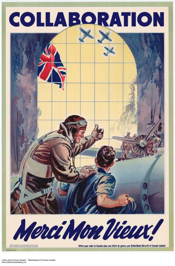 Affiche en couleur montrant un pilote qui parle à un mécanicien dans un hangar d'avion. Des avions en vol et un drapeau britannique apparaissent à travers la fenêtre. Le mot « Collaboration » est écrit dans le haut de l'affiche, et l'expression « Merci Mon Vieux! », dans le bas.